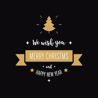 Merry christmas greeting text ornaments tree gold black background