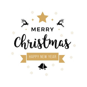 Merry christmas greeting text ornaments white background