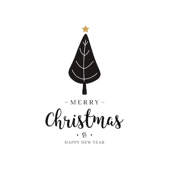 메리 크리스마스 인사말 텍스트 트리 골드 고립 된 배경