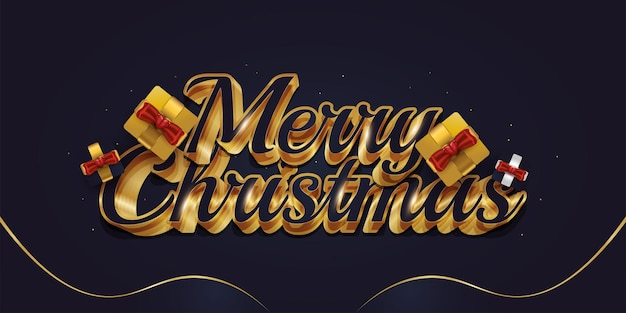 Merry christmas greeting text with gift box and luxury 3d lettering in blue and gold