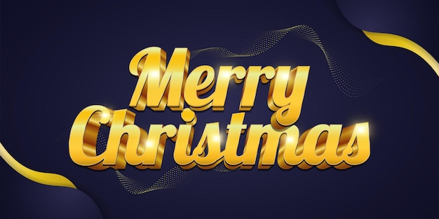 Merry christmas greeting text with luxury 3d gold lettering and shining effect