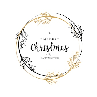 Merry christmas greeting text wreath