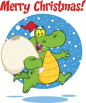 Merry christmas greeting with crocodile santa cartoon character running with bag