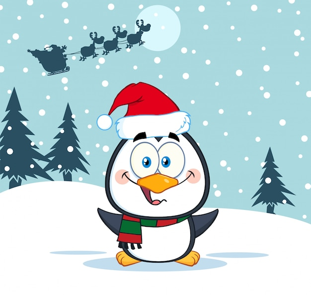 Merry christmas greeting with cute penguin cartoon character.