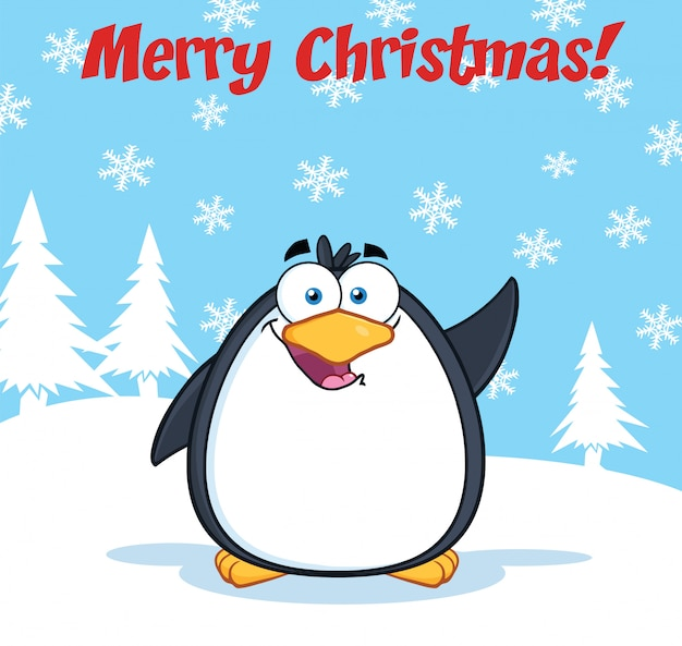 Merry christmas greeting with funny penguin cartoon character waving