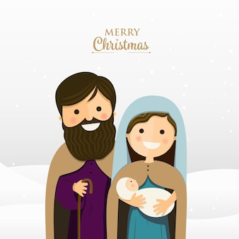 Merry christmas greeting with holy family
