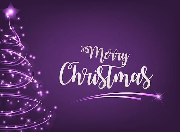 Merry christmas greeting with purple background and light tree