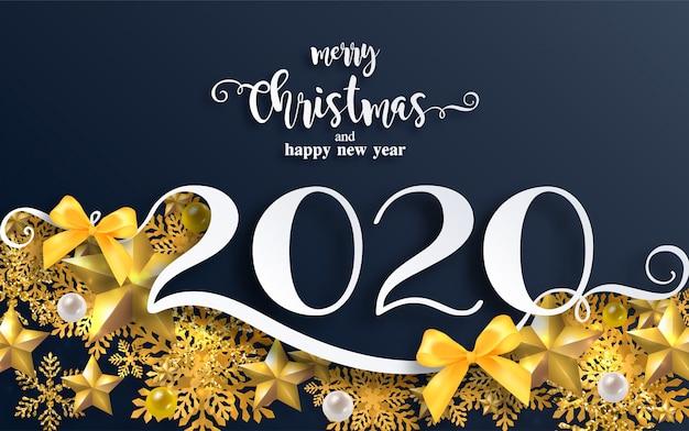 メリークリスマスの挨拶と美しい冬と降雪模様のペーパーカットアートと新年あけましておめでとうございます2020テンプレート。 Premiumベクター