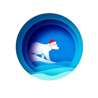 Merry christmas greetings card with polar bear and beautiful winter sea landscape. ursus maritimus. cute polar bear wearing santa claus hat in paper cut style. happy new year. blue.