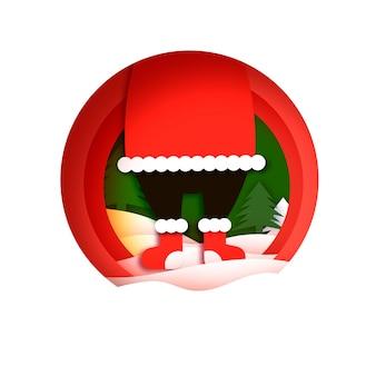 С рождеством христовым открытка с валенками санты. с новым годом в стиле papercraft. красный. зимние каникулы.