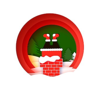 Merry christmas greetings card with santa stuck in chimney. happy new year in papercraft style. red. winter holidays. circle frame.