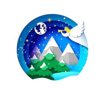 Merry christmas greetings card with white angel and green christmas tree. winter holidays. happy new year. stars. landscape witt mountains. circle bauble frame in paper cut style.