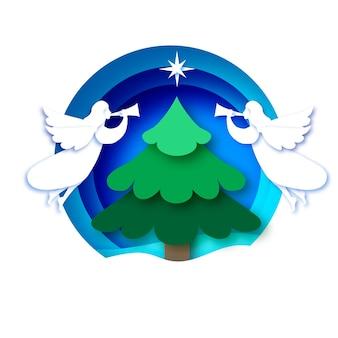 하얀 천사와 그린 크리스마스 트리 메리 크리스마스 인사말 카드. 겨울 방학. 새해 복 많이 받으세요. 베들레헴의 별-동쪽 혜성. 종이에 원형 값싼 물건 프레임 컷 스타일.