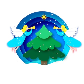 Merry christmas greetings card with white angels and green christmas tree. winter holidays. happy new year. star of bethlehem - east comet. circle bauble frame in paper cut style.