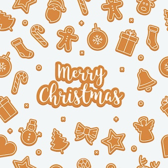 Merry christmas greetings gingerbread cookie set isolated background