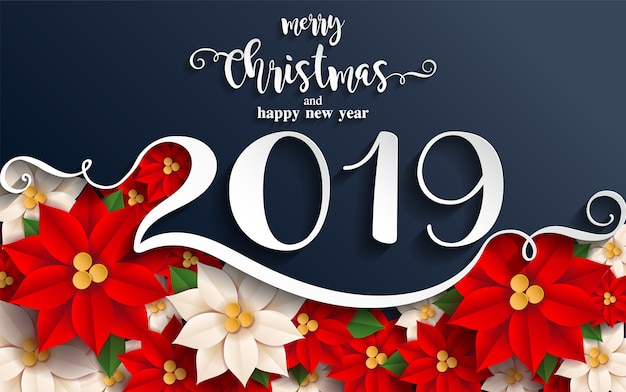Merry christmas greetings and happy new year 2019