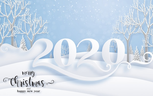 Merry christmas greetings and happy new year 2020 templates with beautiful winter and snowfall patterned paper cut art.