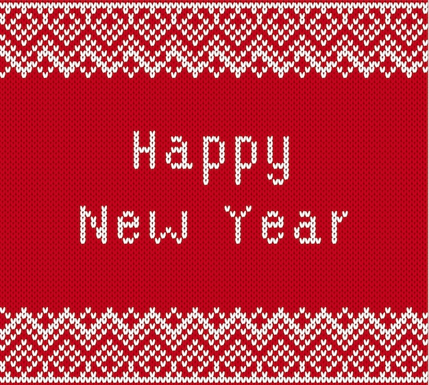 Merry christmas greetings on knitted textured background. knit geometric ornament with happy new year text.