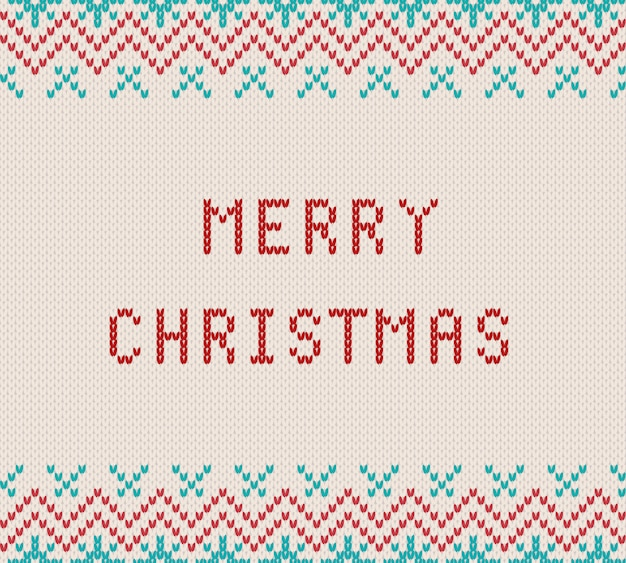 Merry christmas greetings on knitted textured white background. knit geometric ornament with merry christmas text. knitted pattern for a sweater in fair isle style. illustration.