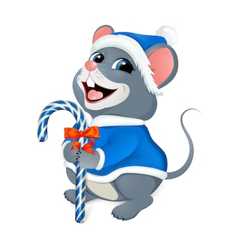 Merry christmas greetings. merry mouse in a blue santa costume.