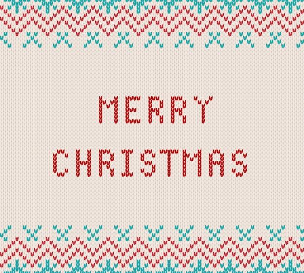 ニットの織り目加工の白い背景の上のメリークリスマスの挨拶。メリークリスマステキストで幾何学的な飾りをニットします。フェアアイルスタイルのセーター用ニットパターン。図。
