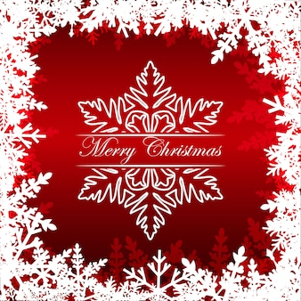 Merry christmas greetings on red with frame from snowflakes