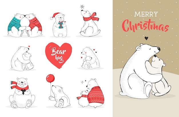 곰과 함께 메리 크리스마스 인사입니다. 손으로 그린 북극곰, 귀여운 곰 세트, 엄마와 아기 곰, 곰 커플