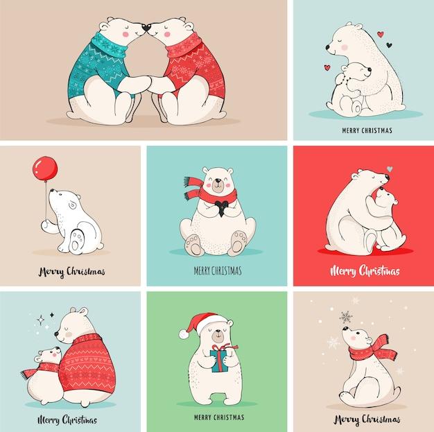 クマとのメリークリスマスの挨拶。手描きのホッキョクグマ、かわいいクマのセット、母親と赤ちゃんのクマ、クマのカップル