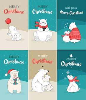 Merry christmas greetings with bears. hand drawn polar bear, cute bear set, mother and baby bears, couple of bears