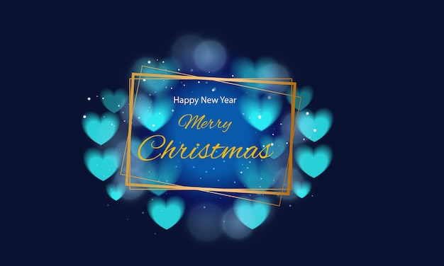 Merry christmas greetings with golden frame and blue harts