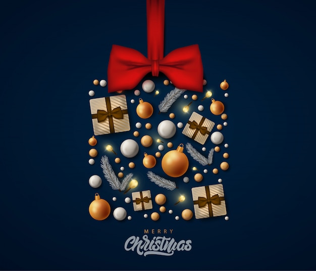 Merry christmas gretting card with gift box with realistic decorations