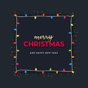 Merry christmas grettings made of lights bulbs frame