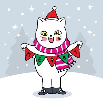 Merry christmas hand draw cartoon cute , cat and flag .