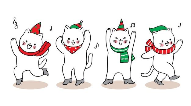 Merry christmas hand draw cartoon cute cats dance .
