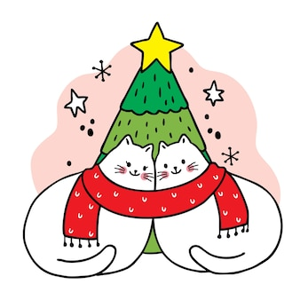 Merry christmas hand draw cartoon cute couple cats and christmas tree .