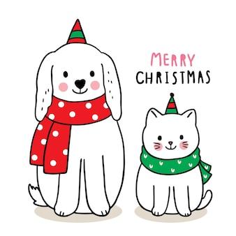 메리 크리스마스 손으로 그리는 만화 귀여운 강아지와 고양이.