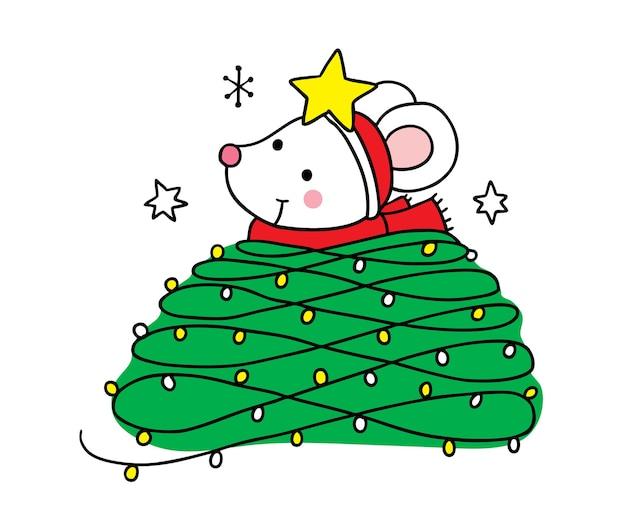 Счастливого рождества рука рисовать мультфильм милый мышь и легкое дерево рождество.