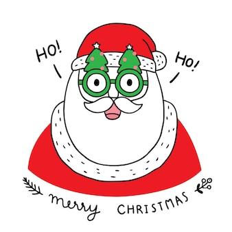Счастливого рождества рука рисовать мультфильм милый санта-клаус и елка рождественские очки.