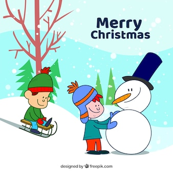 Merry christmas hand drawn background with kids and a snowman