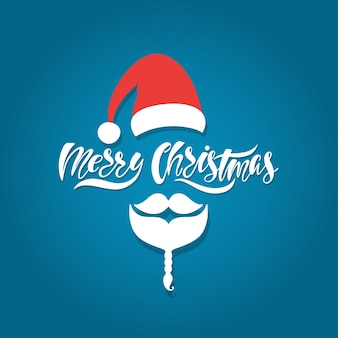 Merry christmas hand drawn calligraphy text