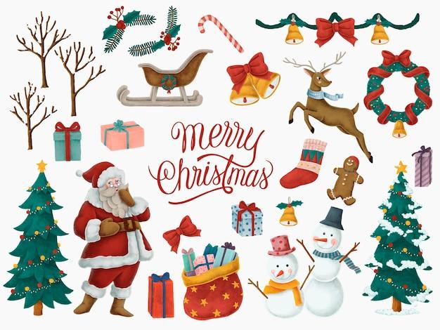 메리 크리스마스 손으로 그린 카드