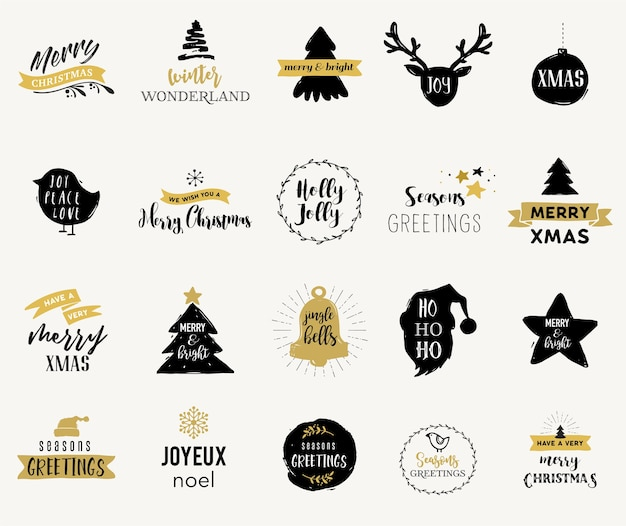 Merry christmas hand drawn cards, illustrations and emblems, lettering design collection