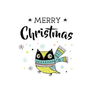 Merry christmas hand drawn cute doodle, illustration and greeting cards with owl. lettering, typography