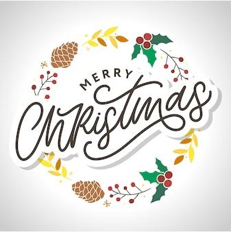 メリークリスマス手描きのデザイン要素。手書きのモダンな筆文字
