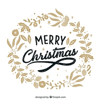 Merry christmas hand drawn floral wreath background