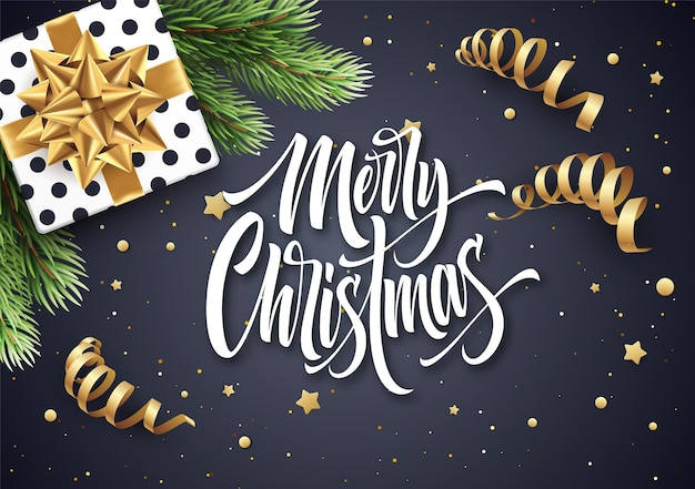 Merry christmas hand drawn lettering greeting card design. xmas calligraphy with realistic fir-tree branch and gift. christmas golden scroll ribbons, stars and confetti. isolated vector illustration