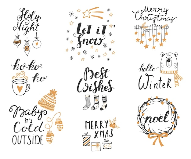 Merry christmas hand drawn lettering hand drawn doodle vector illustration christmas art drawings