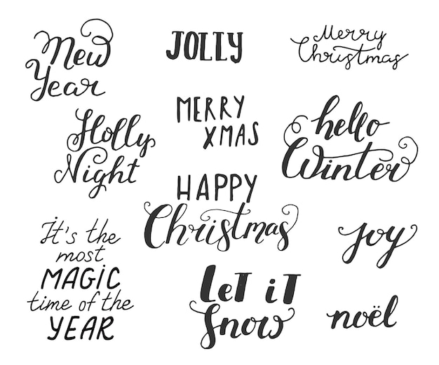 Merry christmas hand drawn lettering hand drawn doodle vector illustration