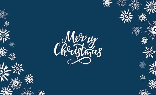 Счастливого рождества рисованной надписи. горизонтальная рамка из снежинок. открытка на новогодние праздники.