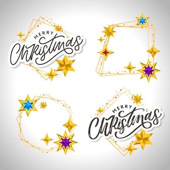 Счастливого рождества рисованной надписи с золотой рамкой и коллекцией звезд